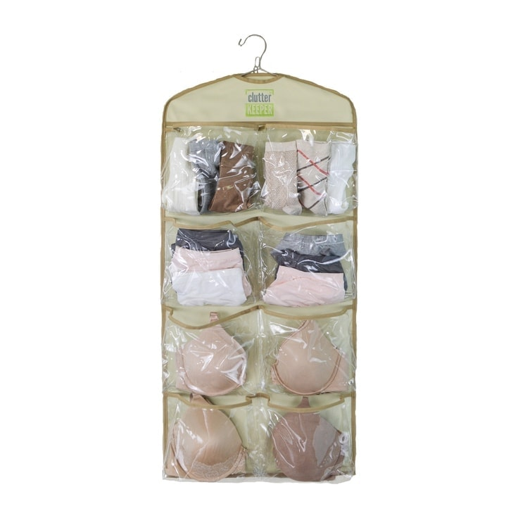 Clutter Keeper Deluxe 15 Pocket Hanging Storage Organizer for Closet Organizing of Underwear, Bras, Socks and More